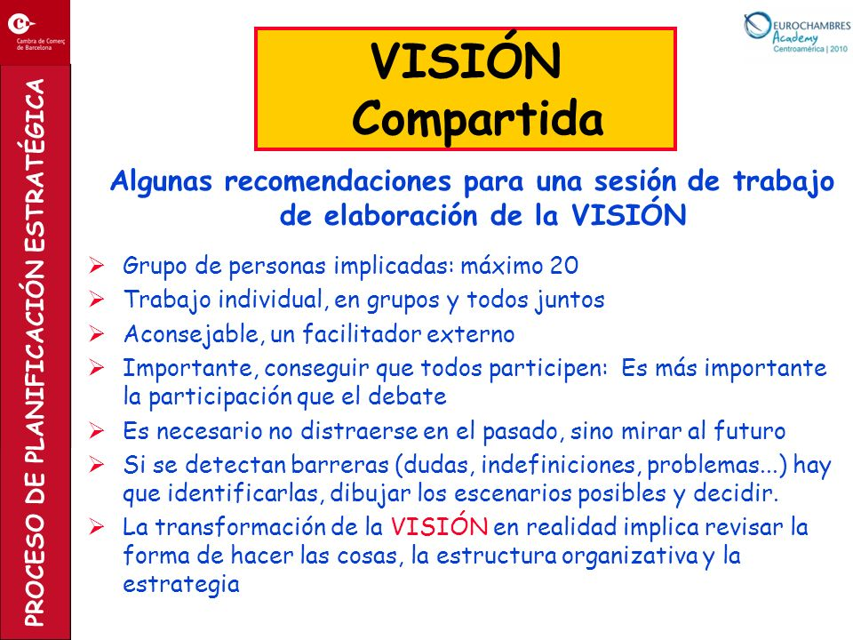 PROCESO DE PLANIFICACIÓN ESTRATÉGICA Algunas recomendaciones para una sesión de trabajo de elaboración de la VISIÓN Grupo de personas implicadas: máxi