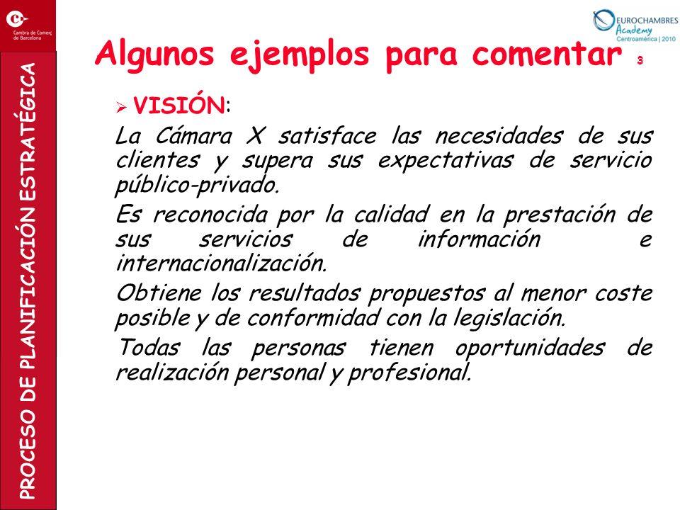 PROCESO DE PLANIFICACIÓN ESTRATÉGICA Algunos ejemplos para comentar 3 VISIÓN: La Cámara X satisface las necesidades de sus clientes y supera sus expec