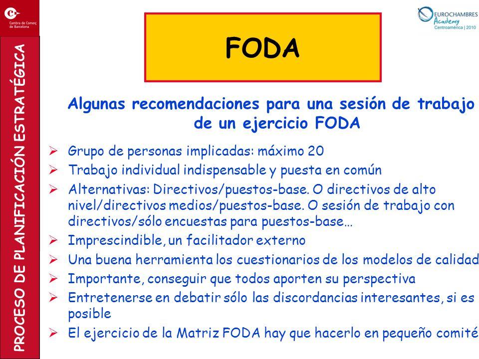 PROCESO DE PLANIFICACIÓN ESTRATÉGICA Algunas recomendaciones para una sesión de trabajo de un ejercicio FODA Grupo de personas implicadas: máximo 20 T