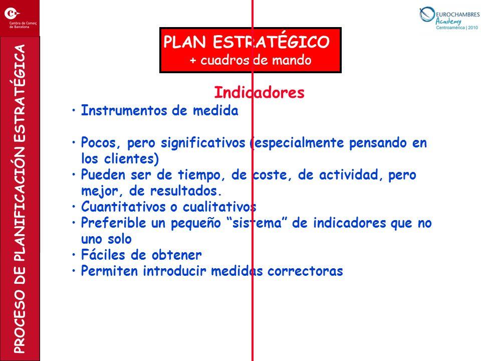 PROCESO DE PLANIFICACIÓN ESTRATÉGICA PLAN ESTRATÉGICO + cuadros de mando Indicadores Instrumentos de medida Pocos, pero significativos (especialmente