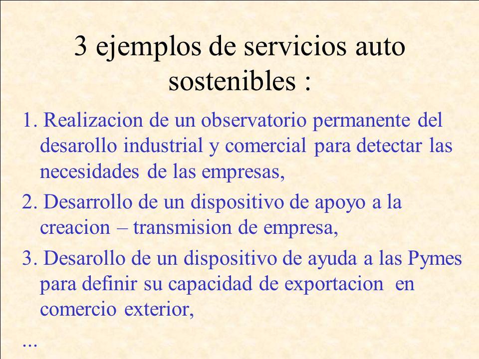3 ejemplos de servicios auto sostenibles : 1.
