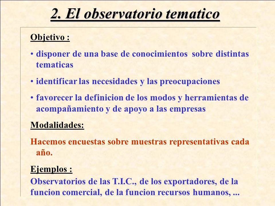1. El observatorio sectorial Objetivo : disponer de informaciones sobre las caracteristicas del tejido economico de la region proporcionar elementos d