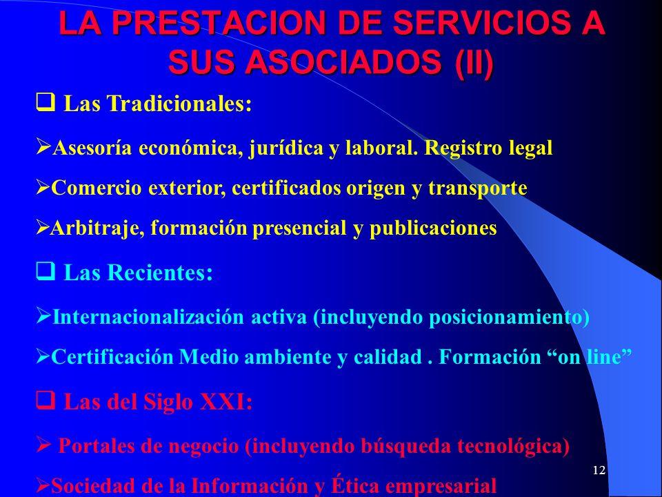11 LA PRESTACION DE SERVICIOS A SUS ASOCIADOS (I) Se ha convertido, frecuentemente, en un elemento de supervivencia económica de las OE.