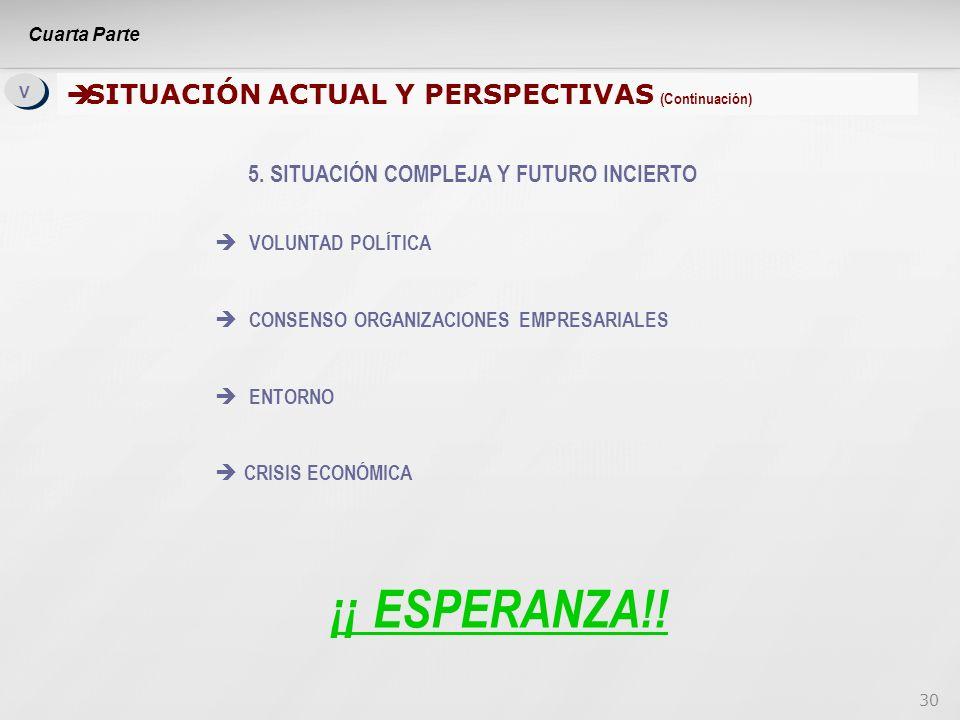 30 V V SITUACIÓN ACTUAL Y PERSPECTIVAS (Continuación) SITUACIÓN ACTUAL Y PERSPECTIVAS (Continuación) 5.