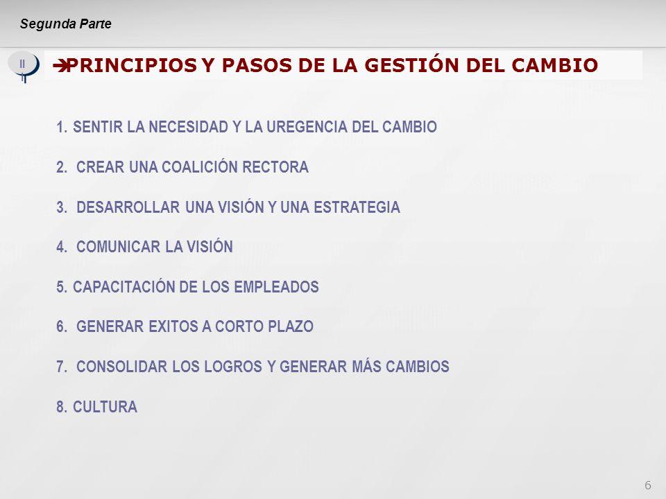 6 II I PRINCIPIOS Y PASOS DE LA GESTIÓN DEL CAMBIO 1.SENTIR LA NECESIDAD Y LA UREGENCIA DEL CAMBIO 2.