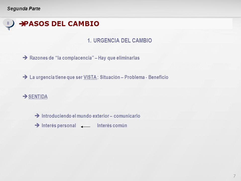 8 Segunda Parte II I PASOS DEL CAMBIO (Continuación) PASOS DEL CAMBIO (Continuación) 2.