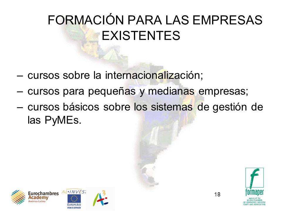 18 FORMACIÓN PARA LAS EMPRESAS EXISTENTES –cursos sobre la internacionalización; –cursos para pequeñas y medianas empresas; –cursos básicos sobre los sistemas de gestión de las PyMEs.