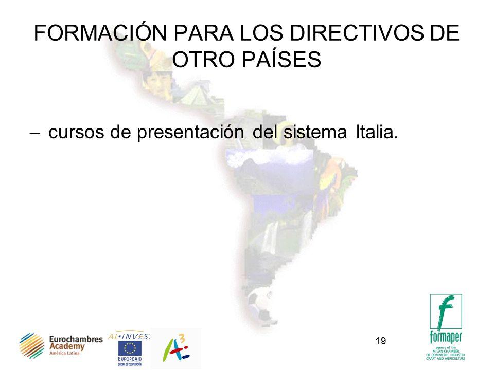 19 FORMACIÓN PARA LOS DIRECTIVOS DE OTRO PAÍSES –cursos de presentación del sistema Italia.
