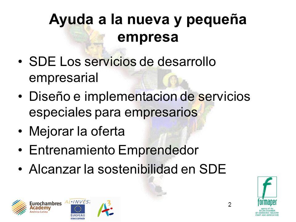 2 Ayuda a la nueva y pequeña empresa SDE Los servicios de desarrollo empresarial Diseño e implementacion de servicios especiales para empresarios Mejorar la oferta Entrenamiento Emprendedor Alcanzar la sostenibilidad en SDE
