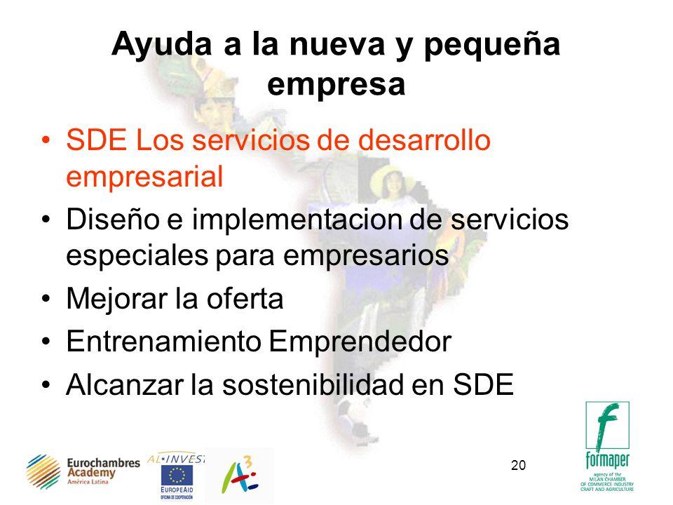 20 Ayuda a la nueva y pequeña empresa SDE Los servicios de desarrollo empresarial Diseño e implementacion de servicios especiales para empresarios Mejorar la oferta Entrenamiento Emprendedor Alcanzar la sostenibilidad en SDE