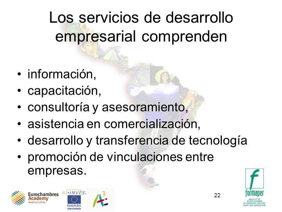 22 Los servicios de desarrollo empresarial comprenden información, capacitación, consultoría y asesoramiento, asistencia en comercialización, desarrollo y transferencia de tecnología promoción de vinculaciones entre empresas.