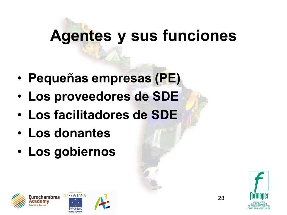 28 Agentes y sus funciones Pequeñas empresas (PE) Los proveedores de SDE Los facilitadores de SDE Los donantes Los gobiernos