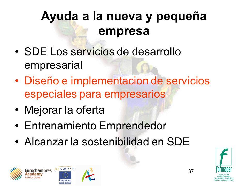 37 Ayuda a la nueva y pequeña empresa SDE Los servicios de desarrollo empresarial Diseño e implementacion de servicios especiales para empresarios Mejorar la oferta Entrenamiento Emprendedor Alcanzar la sostenibilidad en SDE