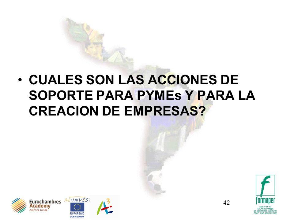 42 CUALES SON LAS ACCIONES DE SOPORTE PARA PYMEs Y PARA LA CREACION DE EMPRESAS