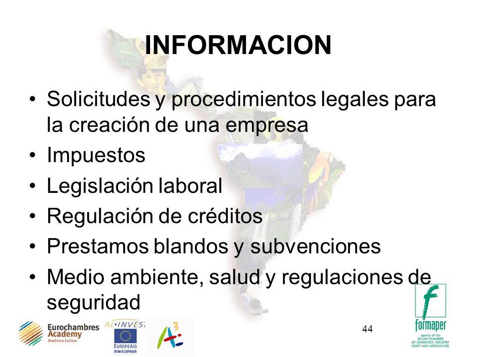 44 INFORMACION Solicitudes y procedimientos legales para la creación de una empresa Impuestos Legislación laboral Regulación de créditos Prestamos blandos y subvenciones Medio ambiente, salud y regulaciones de seguridad