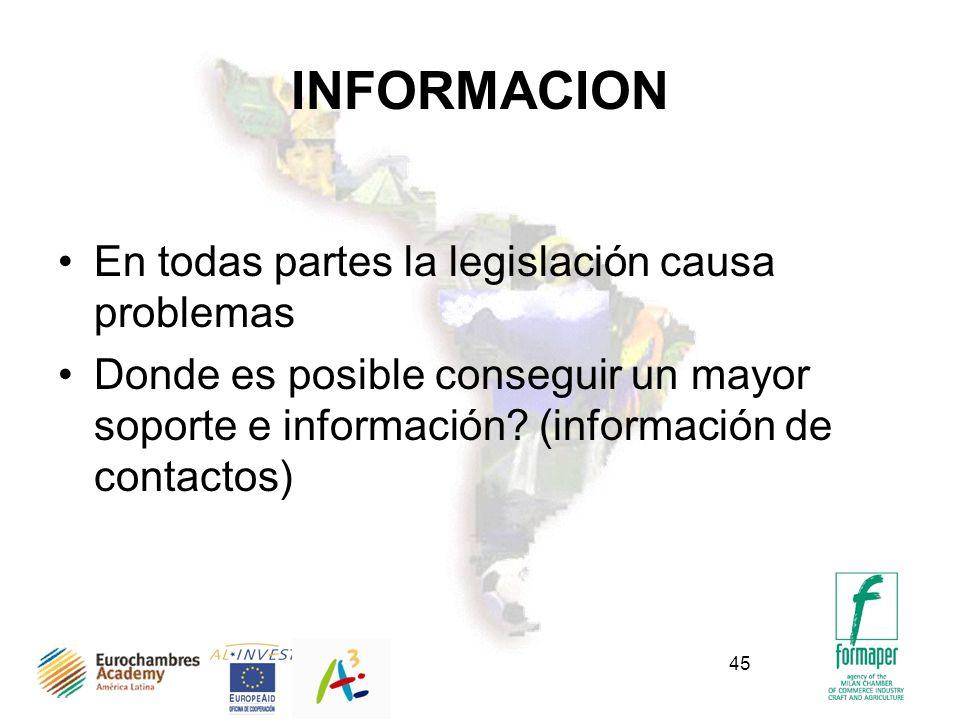 45 INFORMACION En todas partes la legislación causa problemas Donde es posible conseguir un mayor soporte e información.