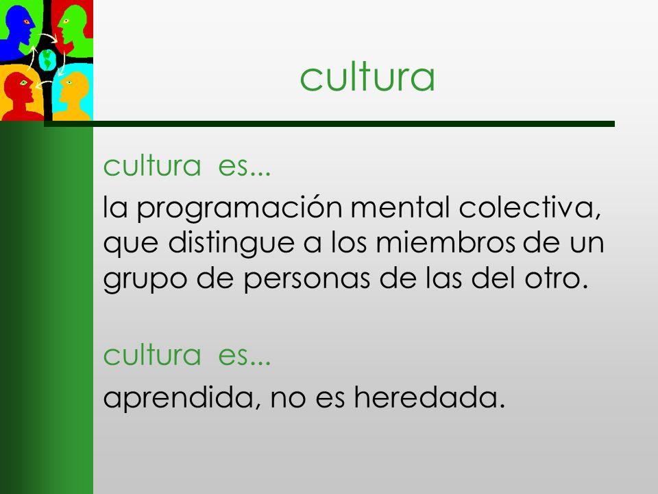 cultura cultura es... la programación mental colectiva, que distingue a los miembros de un grupo de personas de las del otro. cultura es... aprendida,