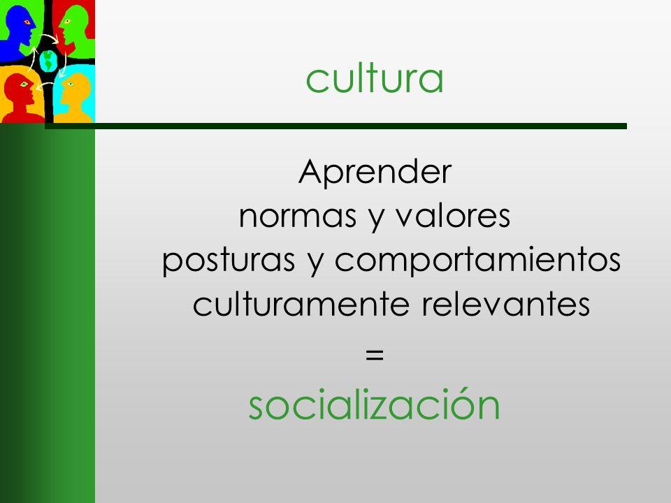 cultura Aprender normas y valores posturas y comportamientos culturamente relevantes = socialización