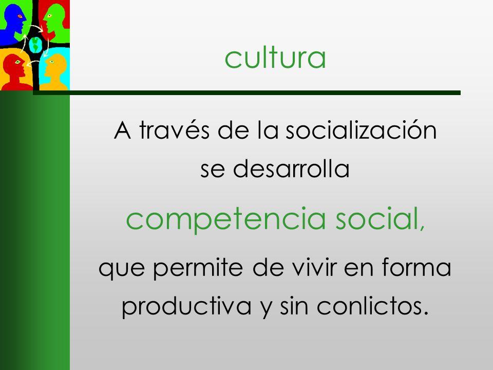 cultura A través de la socialización se desarrolla competencia social, que permite de vivir en forma productiva y sin conlictos.
