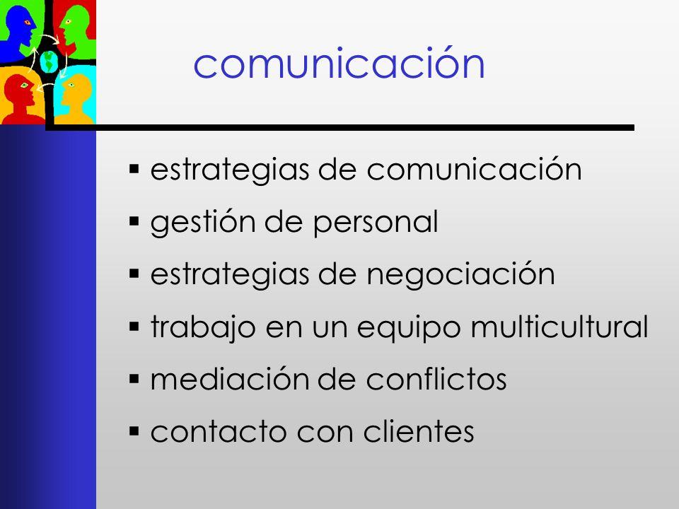 comunicación estrategias de comunicación gestión de personal estrategias de negociación trabajo en un equipo multicultural mediación de conflictos con
