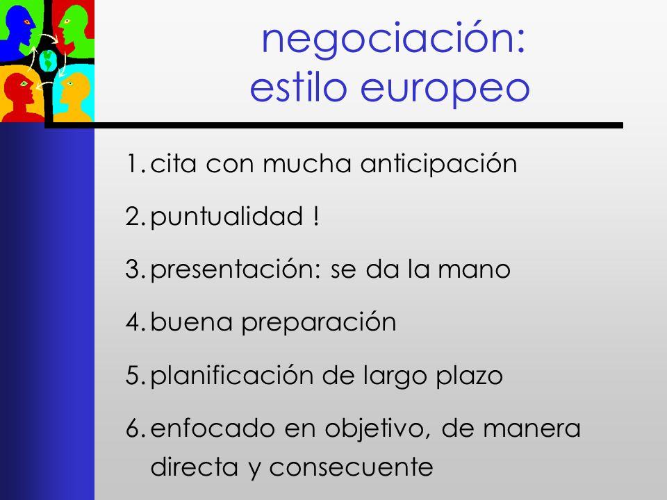 negociación: estilo europeo 1.cita con mucha anticipación 2.puntualidad ! 3.presentación: se da la mano 4.buena preparación 5.planificación de largo p