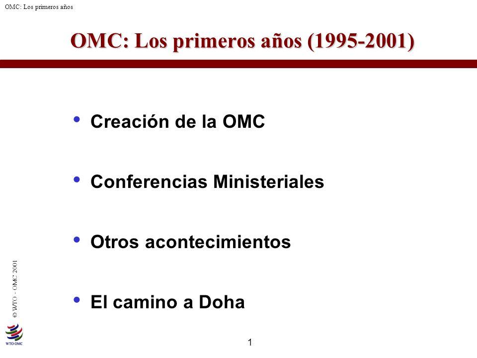 1 © WTO - OMC 2001 OMC: Los primeros años OMC: Los primeros años (1995-2001) Creación de la OMC Conferencias Ministeriales Otros acontecimientos El ca