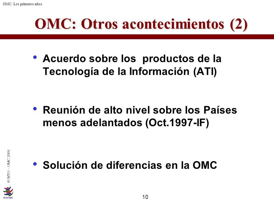 10 © WTO - OMC 2001 OMC: Los primeros años OMC: Otros acontecimientos (2) OMC: Otros acontecimientos (2) Acuerdo sobre los productos de la Tecnología