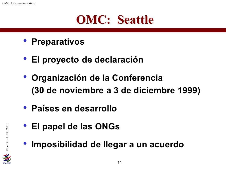 11 © WTO - OMC 2001 OMC: Los primeros años OMC: Seattle Preparativos El proyecto de declaración Organización de la Conferencia (30 de noviembre a 3 de
