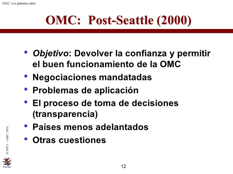 12 © WTO - OMC 2001 OMC: Los primeros años OMC: Post-Seattle (2000) Objetivo: Devolver la confianza y permitir el buen funcionamiento de la OMC Negoci