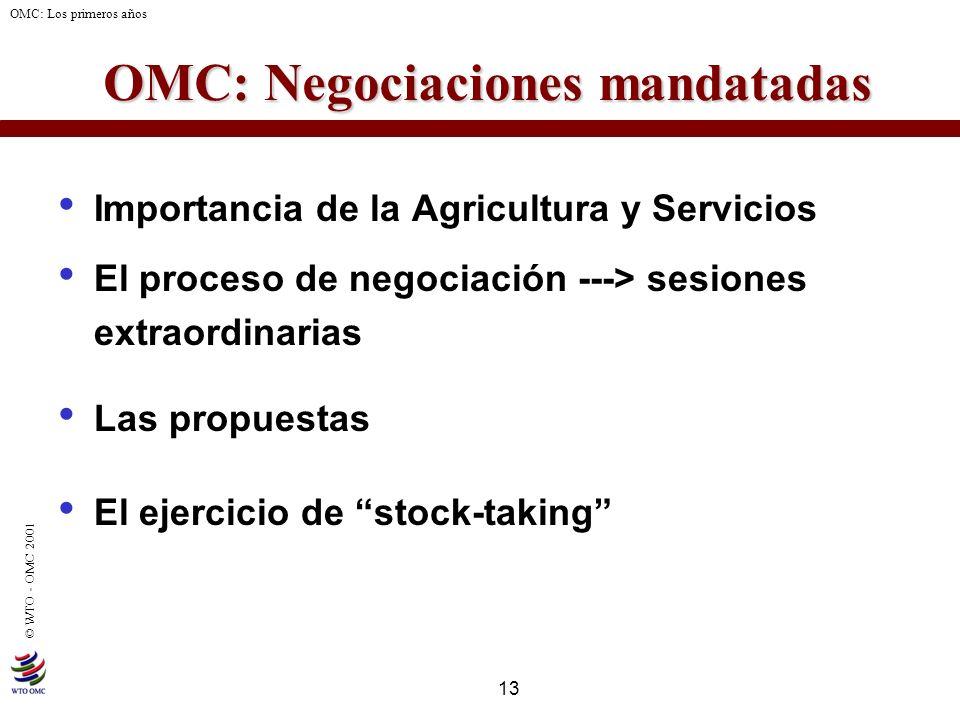 13 © WTO - OMC 2001 OMC: Los primeros años OMC: Negociaciones mandatadas Importancia de la Agricultura y Servicios El proceso de negociación ---> sesi