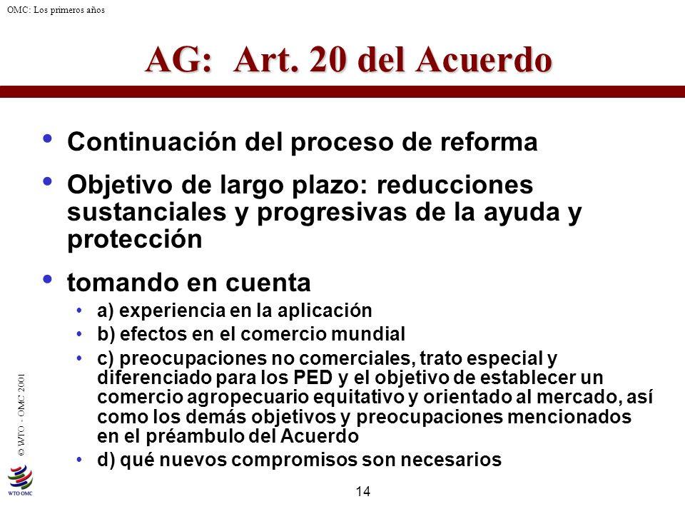 14 © WTO - OMC 2001 OMC: Los primeros años AG: Art. 20 del Acuerdo Continuación del proceso de reforma Objetivo de largo plazo: reducciones sustancial