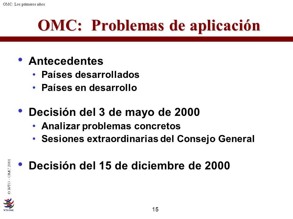 15 © WTO - OMC 2001 OMC: Los primeros años OMC: Problemas de aplicación Antecedentes Países desarrollados Países en desarrollo Decisión del 3 de mayo