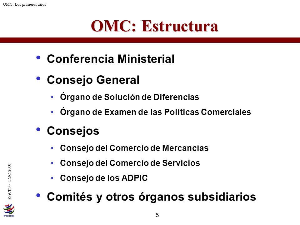 5 © WTO - OMC 2001 OMC: Los primeros años OMC: Estructura OMC: Estructura Conferencia Ministerial Consejo General Órgano de Solución de Diferencias Ór