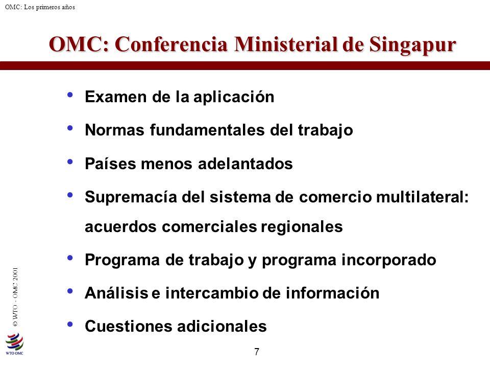 7 © WTO - OMC 2001 OMC: Los primeros años OMC: Conferencia Ministerial de Singapur OMC: Conferencia Ministerial de Singapur Examen de la aplicación No