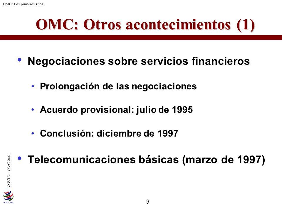 9 © WTO - OMC 2001 OMC: Los primeros años OMC: Otros acontecimientos (1) OMC: Otros acontecimientos (1) Negociaciones sobre servicios financieros Prol