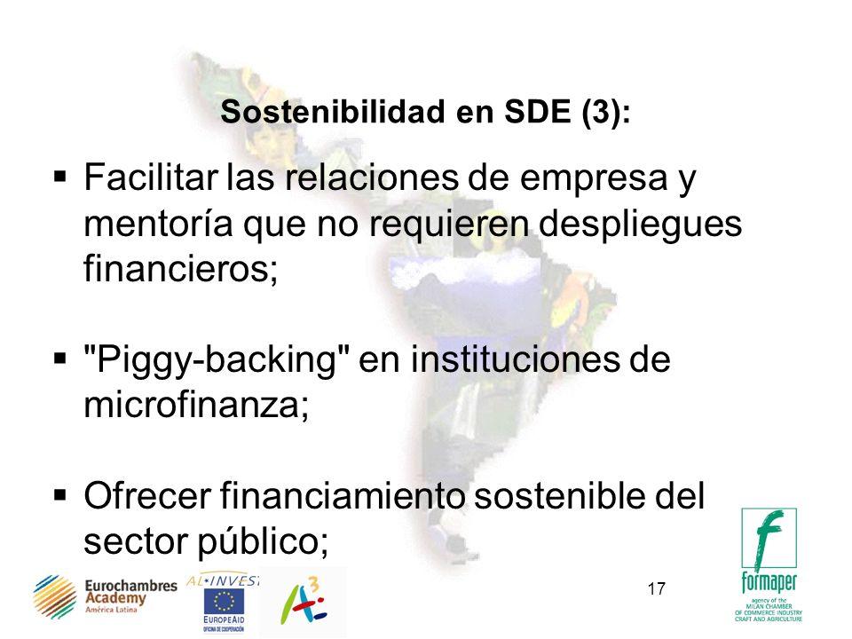 17 Sostenibilidad en SDE (3): Facilitar las relaciones de empresa y mentoría que no requieren despliegues financieros; Piggy-backing en instituciones de microfinanza; Ofrecer financiamiento sostenible del sector público;