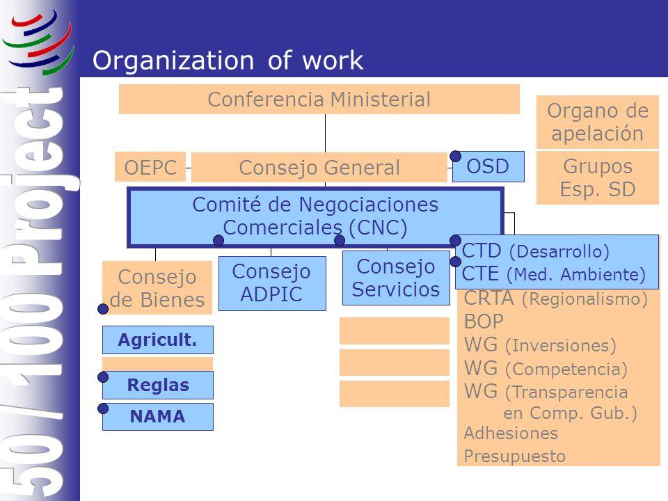 Organization of work Conferencia Ministerial Organo de apelación Grupos Esp.