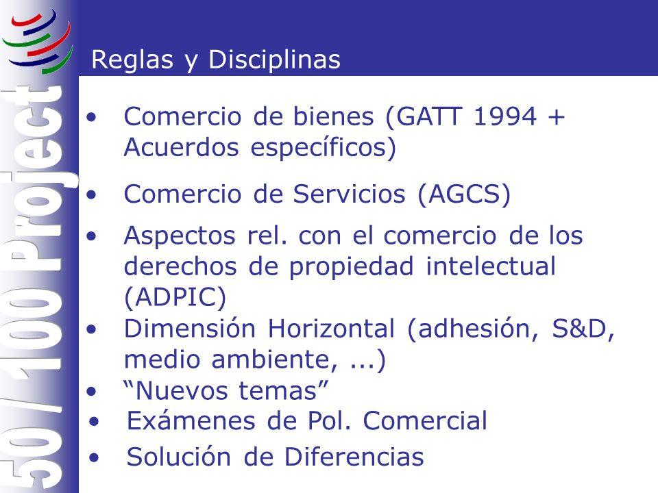 Reglas y Disciplinas Comercio de bienes (GATT 1994 + Acuerdos específicos) Comercio de Servicios (AGCS) Aspectos rel.