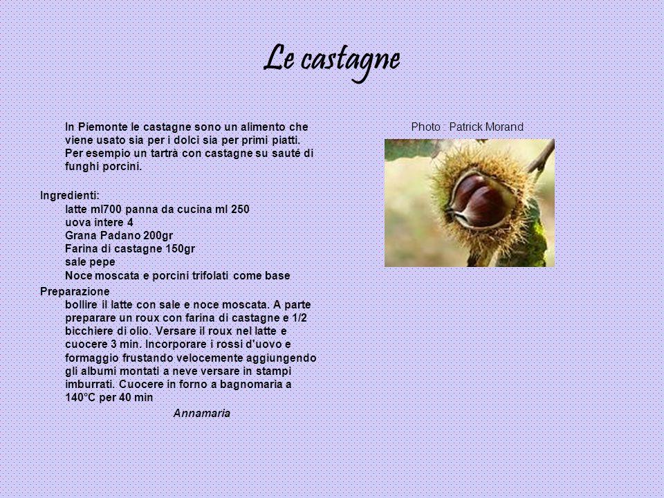 Le castagne In Piemonte le castagne sono un alimento che viene usato sia per i dolci sia per primi piatti. Per esempio un tartrà con castagne su sauté