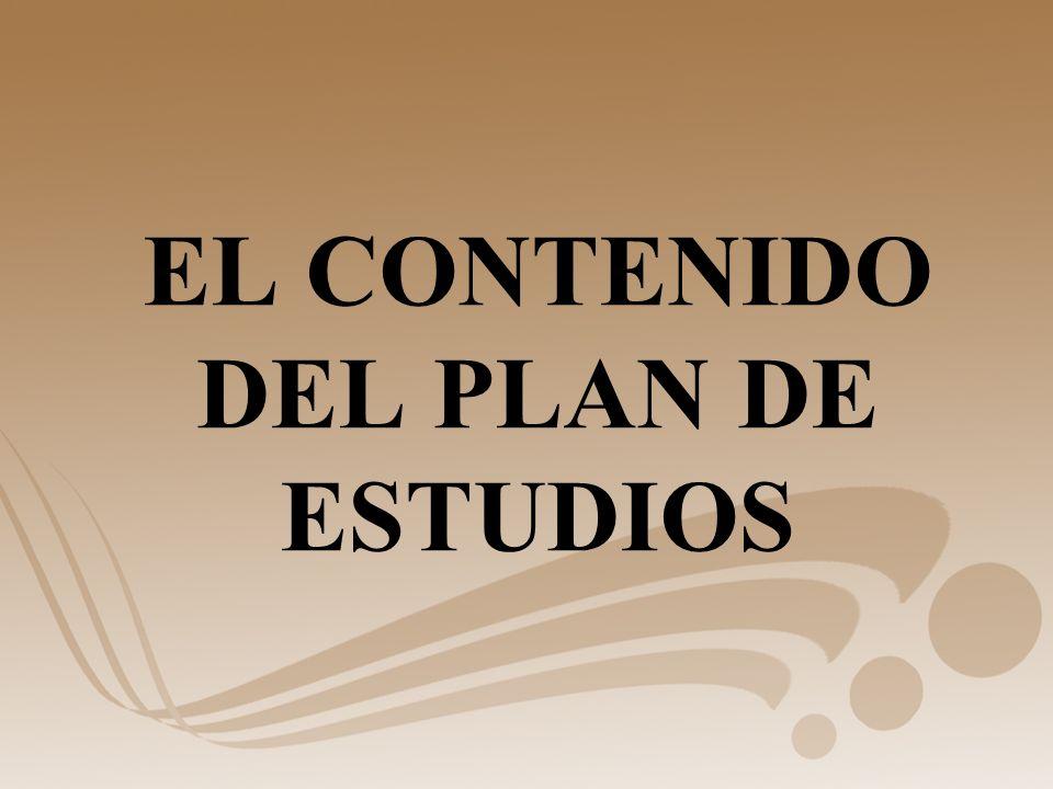 EL CONTENIDO DEL PLAN DE ESTUDIOS