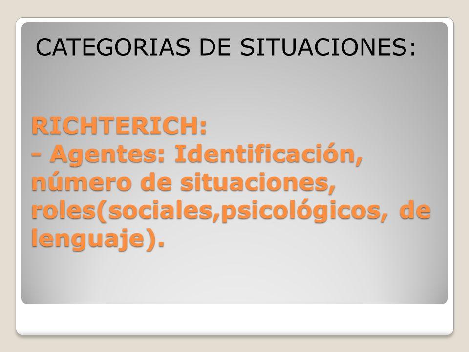 RICHTERICH: - Agentes: Identificación, número de situaciones, roles(sociales,psicológicos, de lenguaje). CATEGORIAS DE SITUACIONES: