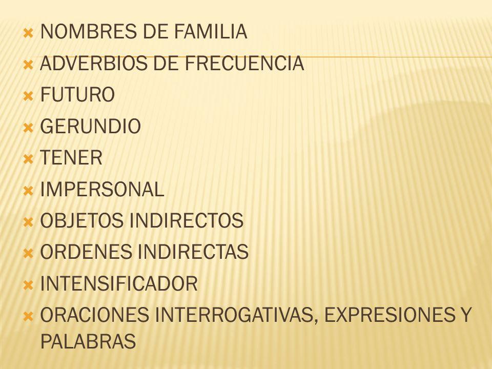 NOMBRES DE FAMILIA ADVERBIOS DE FRECUENCIA FUTURO GERUNDIO TENER IMPERSONAL OBJETOS INDIRECTOS ORDENES INDIRECTAS INTENSIFICADOR ORACIONES INTERROGATI