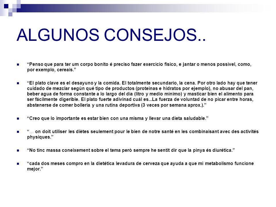 ALGUNOS CONSEJOS..