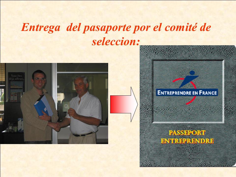 Entrega del pasaporte por el comité de seleccion: