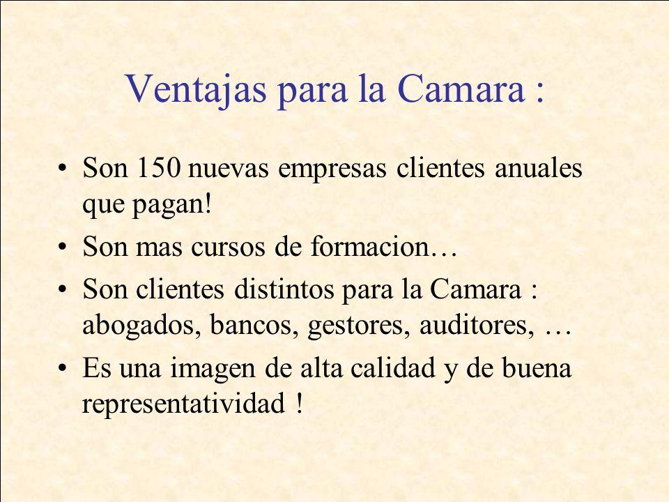 Ventajas para la Camara : Son 150 nuevas empresas clientes anuales que pagan.