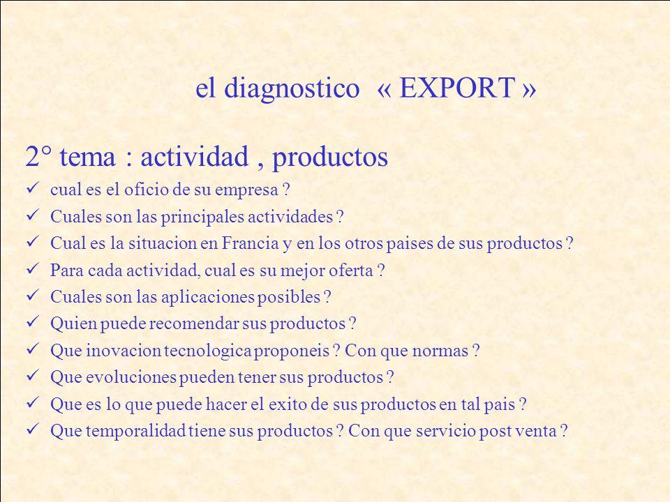 el diagnostico « EXPORT » 2° tema : actividad, productos cual es el oficio de su empresa .