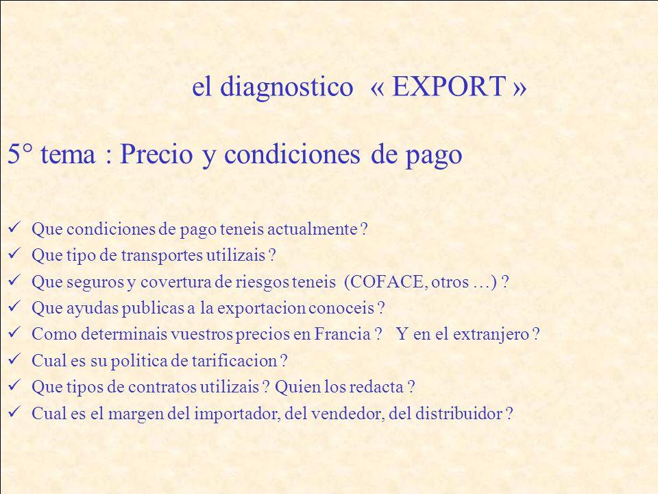 el diagnostico « EXPORT » 5° tema : Precio y condiciones de pago Que condiciones de pago teneis actualmente .
