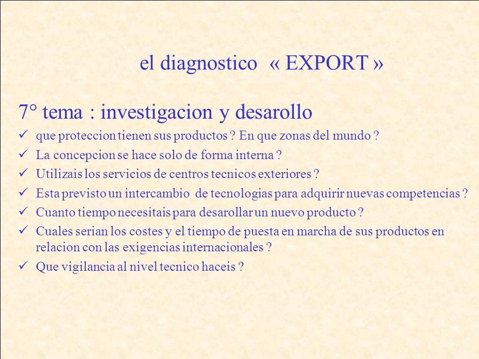 el diagnostico « EXPORT » 7° tema : investigacion y desarollo que proteccion tienen sus productos .