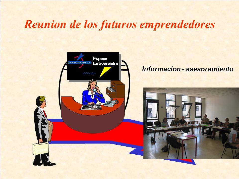 Reunion de los futuros emprendedores Idées Informacion - asesoramiento Espace Entreprendre accueil