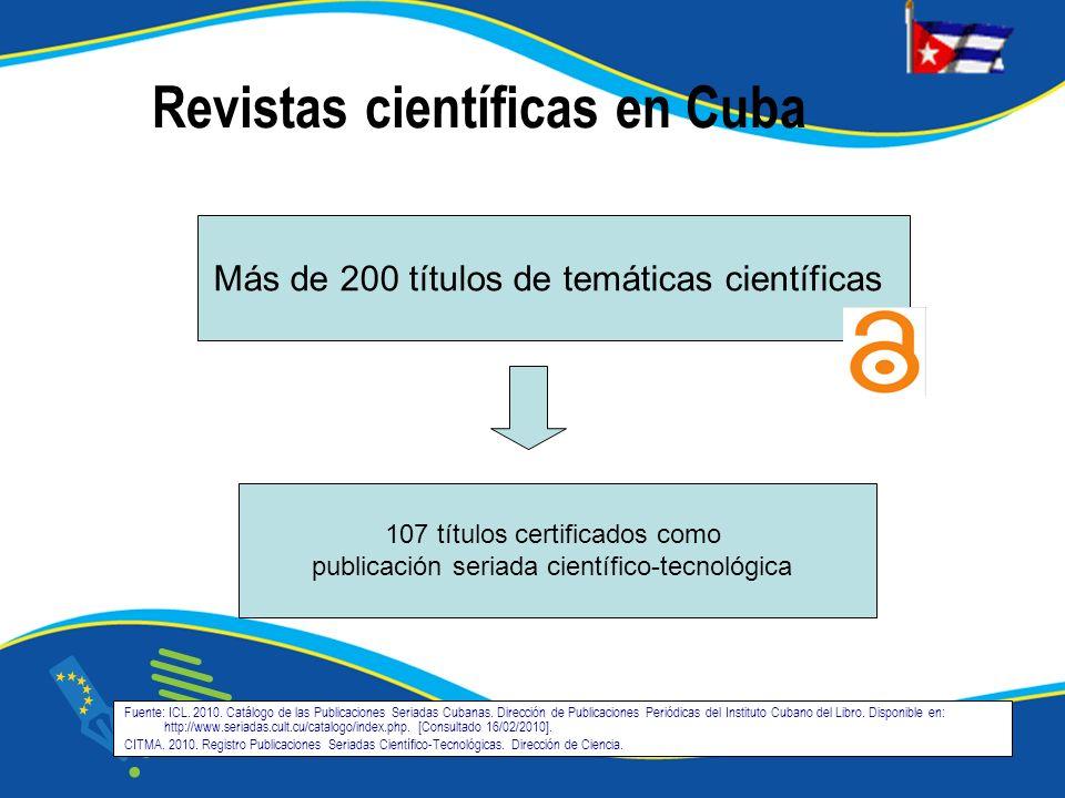 Fuente: ICL. 2010. Catálogo de las Publicaciones Seriadas Cubanas. Dirección de Publicaciones Periódicas del Instituto Cubano del Libro. Disponible en